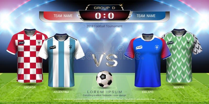 Grupp D, fotbollärmlös tröja för lag för fotbollkopp 2018 med funktionskortmodellen royaltyfri illustrationer