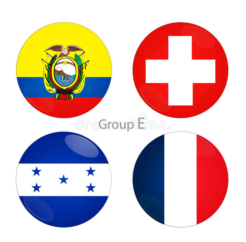 Grupp E - Ecuador, Schweiz, Honduras, Frankrike stock illustrationer