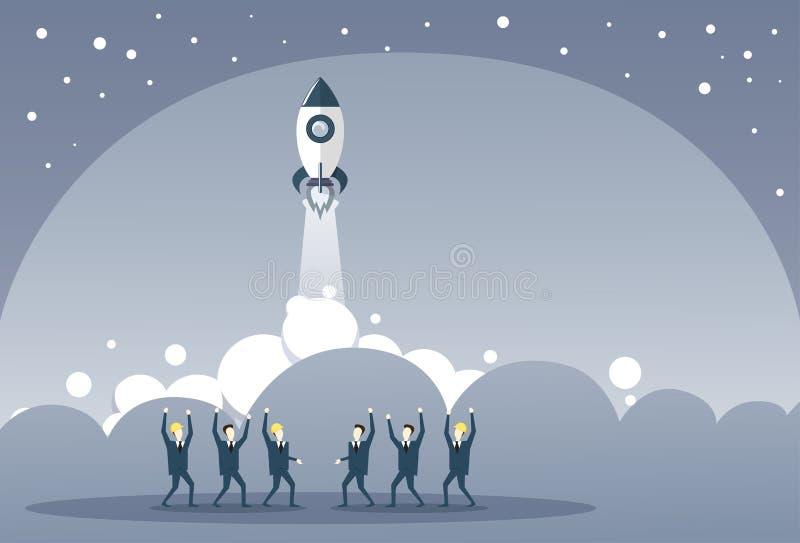 Grupp för affärsfolk som ser lanserande för Stratup för utrymmeskepp nytt begrepp för utveckling strategi royaltyfri illustrationer
