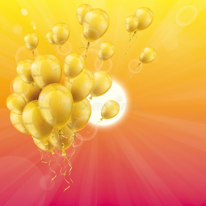 Grupp för ballonger för sommarhimmelsol guld- stock illustrationer