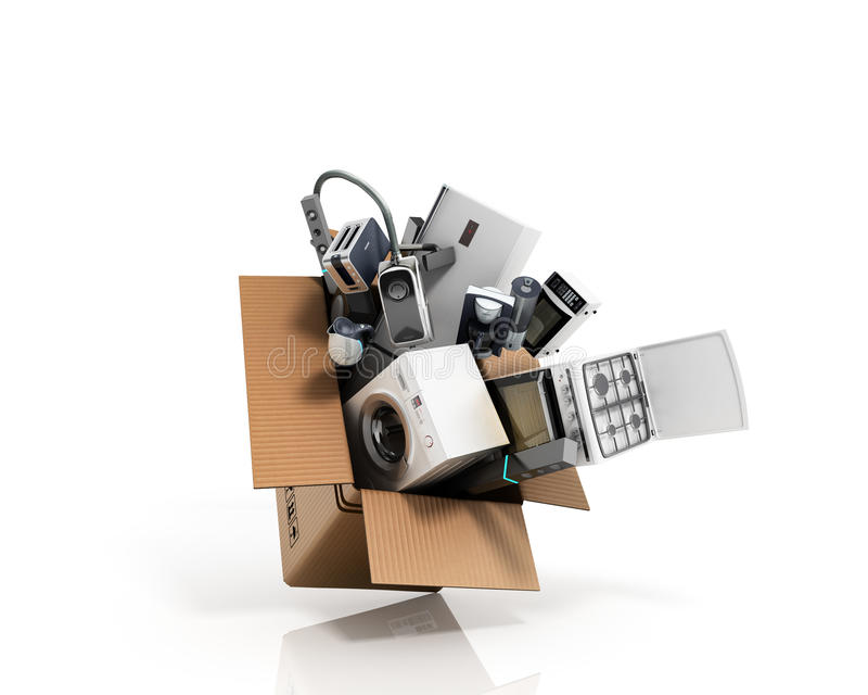 Grupp för hem- anordningar av vit stov för kylskåptvagningmaskin royaltyfri illustrationer