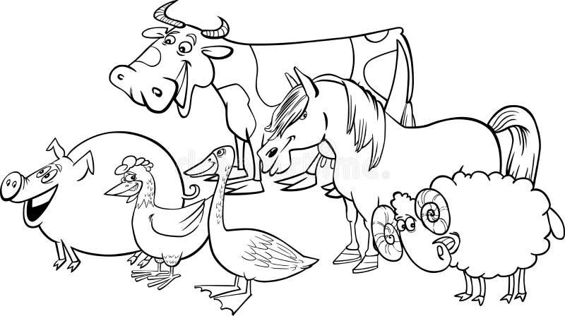 grupp för lantgård för djurtecknad filmfärgläggning vektor illustrationer