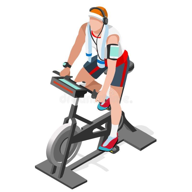 Grupp för motionscykelsnurrkondition 3D sänker den isometriska snurrkonditioncykeln Idrottshallgrupp som utarbetar cykla den inom royaltyfri illustrationer
