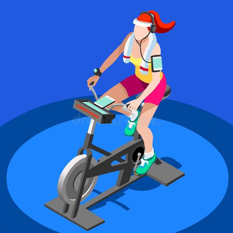 Grupp för motionscykelsnurrkondition 3D sänker den isometriska snurrkonditioncykeln Idrottshallgrupp som utarbetar cykla den inom vektor illustrationer