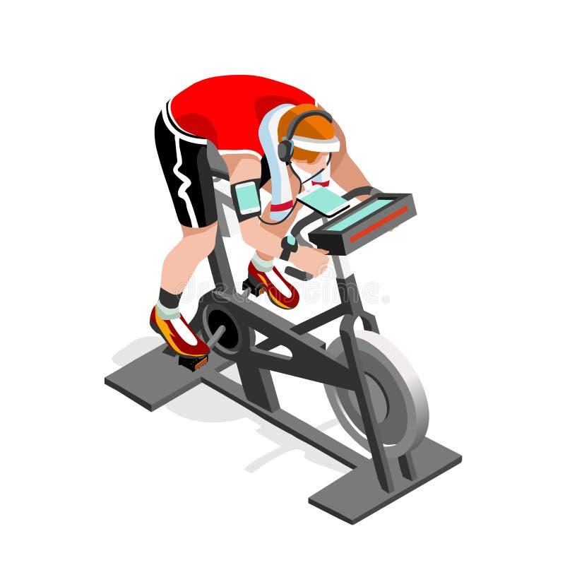 Grupp för motionscykelsnurrkondition 3D sänker den isometriska snurrkonditioncykeln Idrottshallgrupp som utarbetar cykla inomhus  vektor illustrationer