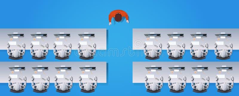 Grupp för robotar för manlärareundervisning som humanoid sitter på skrivbord i begrepp för konstgjord intelligens för skola för k vektor illustrationer