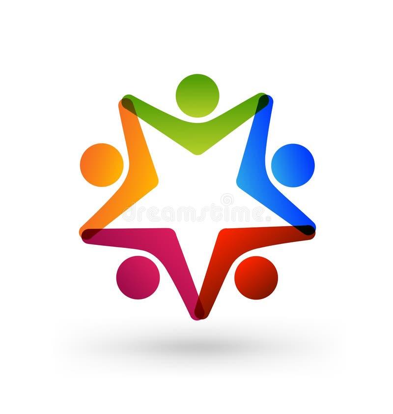 Grupp för teamworkbarnstjärna, skolaaktiviteter, vektorlogo stock illustrationer