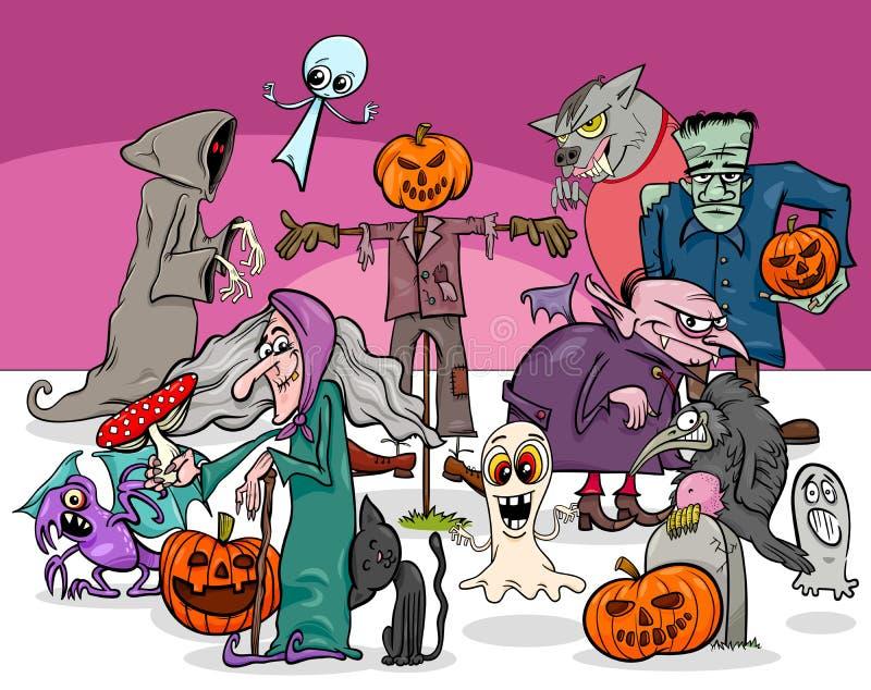 Grupp för tecken för allhelgonaaftonferietecknad film läskig stock illustrationer