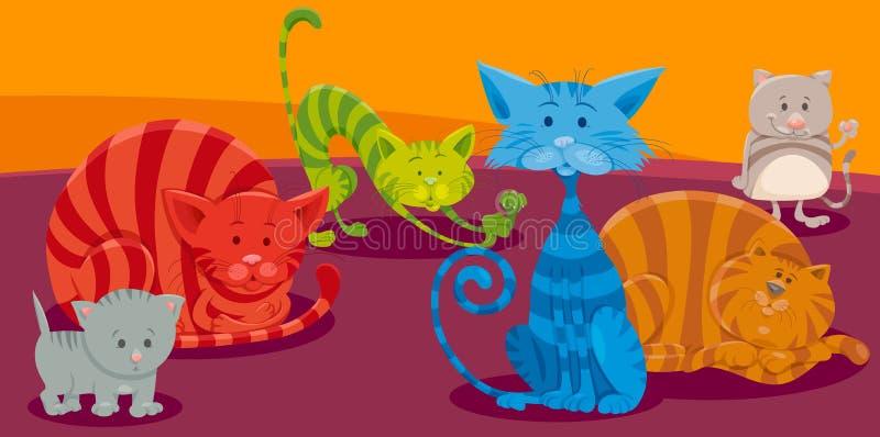 Grupp för tecken för katt- eller kattungetecknad film djur vektor illustrationer