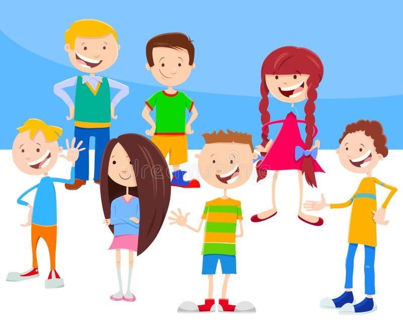 Grupp för tecknad filmunge- och tonårtecken stock illustrationer