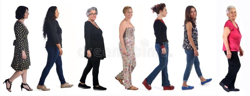 Grupp kvinnor som går på vitt royaltyfri foto