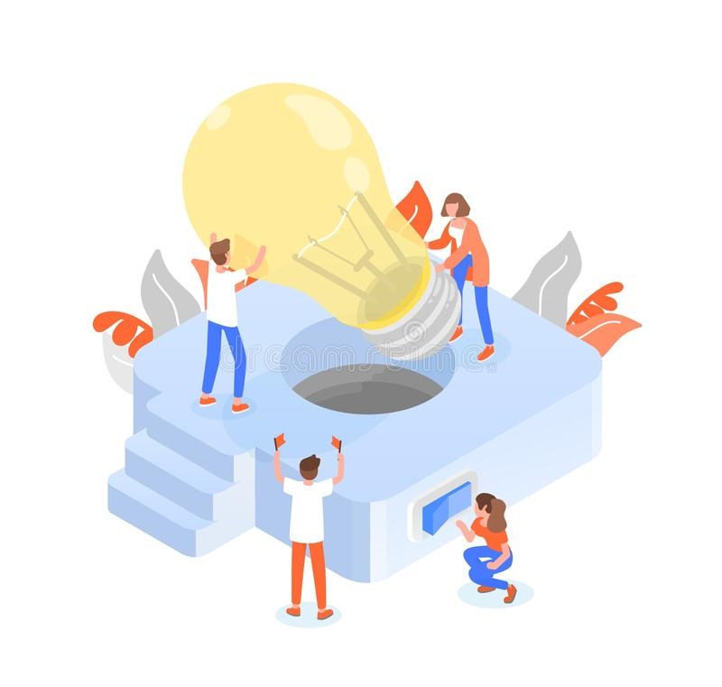 Grupp människor eller gruppmedlemmar som sätter den jätte- lightbulben in i det ljusa fasta tillbehöret Teamwork eller effektivt  stock illustrationer