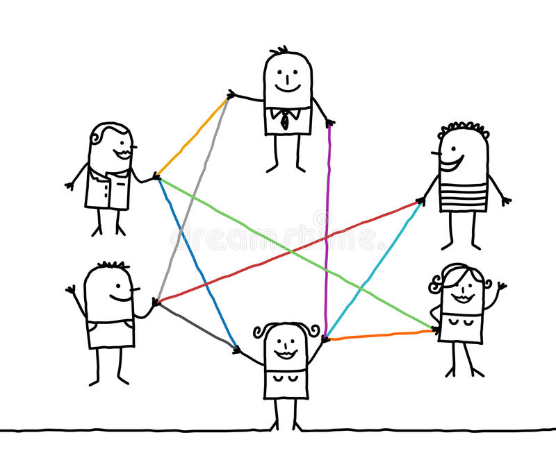 Grupp människor förbindelse av färglinjer stock illustrationer