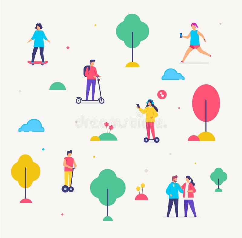 Grupp människor går Transportera gyroscooter, sparkcykel, parkera infographicssymboler, illustration Smartphonesminnestavlor vektor illustrationer
