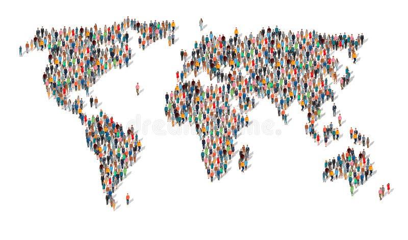 Grupp människor i form av världskartan royaltyfri illustrationer