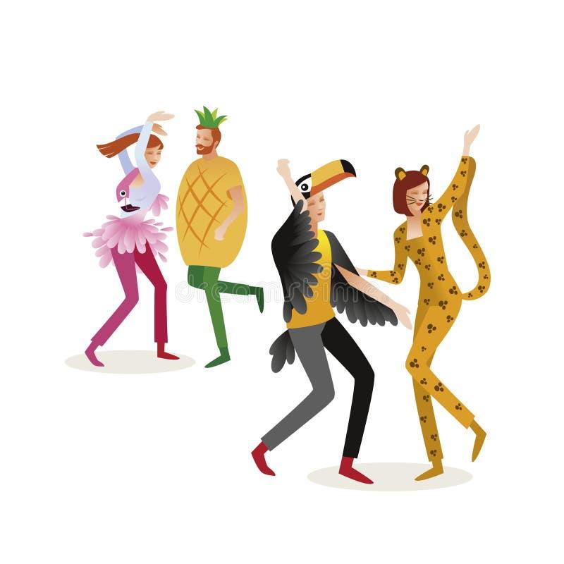 Grupp människor i karnevaldräkter Djungelmaskerad Panter, stock illustrationer