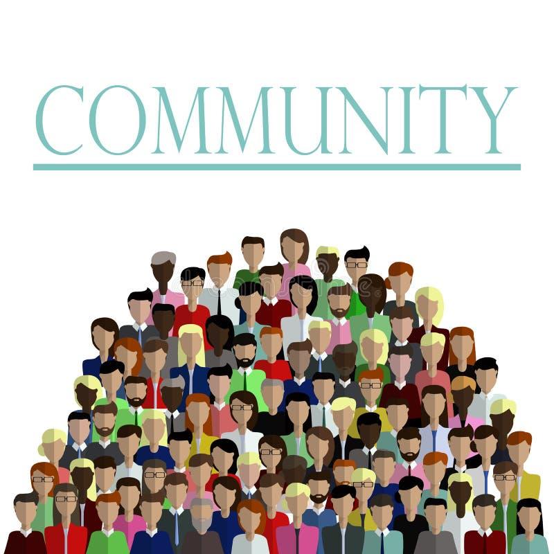 Grupp människor i plan stil i gemenskap som isoleras på vit bakgrund vektor illustrationer