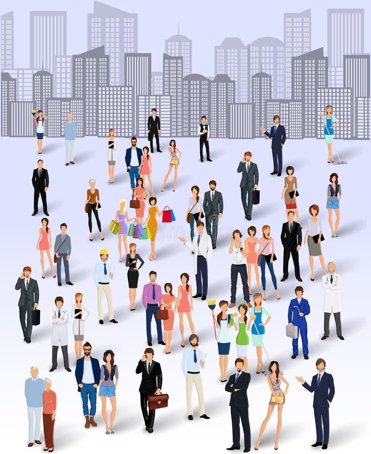 Grupp människor i staden vektor illustrationer