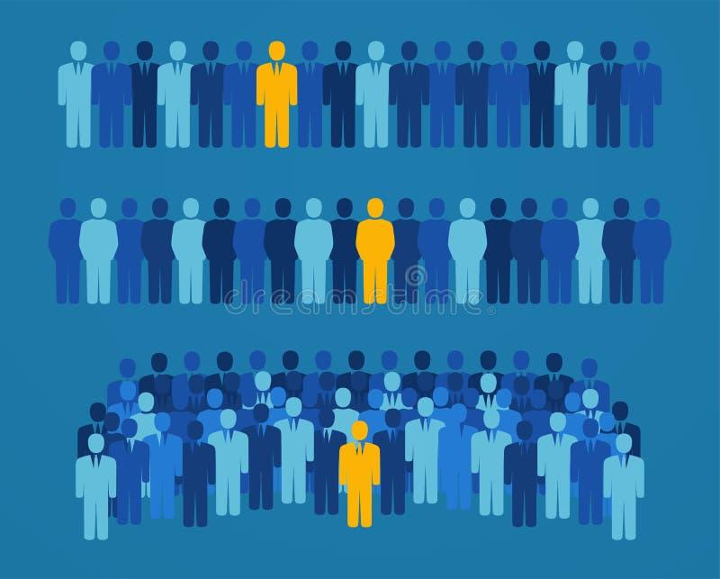 Grupp människor med en gul kandidat för valt kontor stock illustrationer