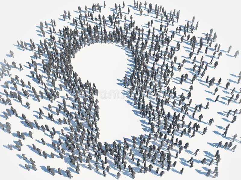 Grupp människor - nyckelhålsymbol royaltyfri illustrationer
