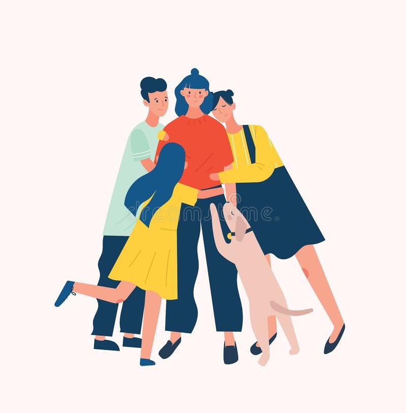 Grupp människor och hund som omger och kramar eller omfamnar den unga kvinnan Vän`-service, omsorg, förälskelse och godtagande stock illustrationer