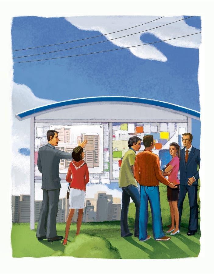 Grupp människor på ett informationsbräde som visar ett konstruktionsplan Fastighetsmäklare och köpare Digital illustration vektor illustrationer