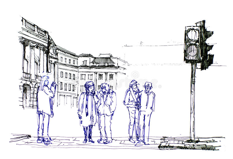 Grupp människor på föreningspunkten, i Europa att dra vektor illustrationer