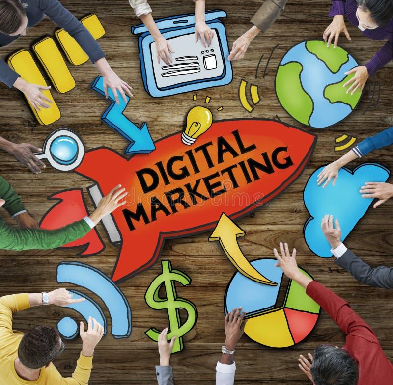 Grupp människor runt om den ordDigital marknadsföringen vektor illustrationer