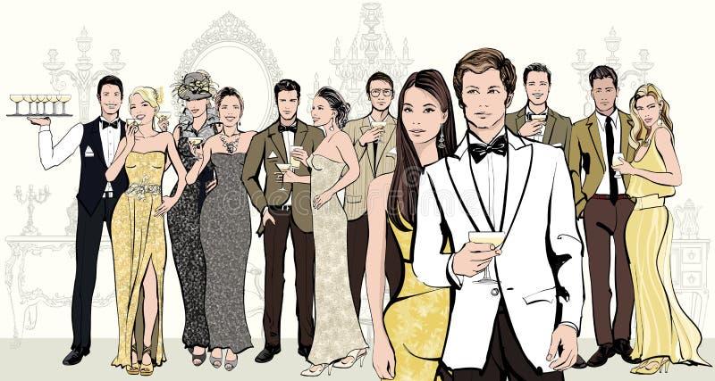 Grupp människor som firar en händelse vektor illustrationer