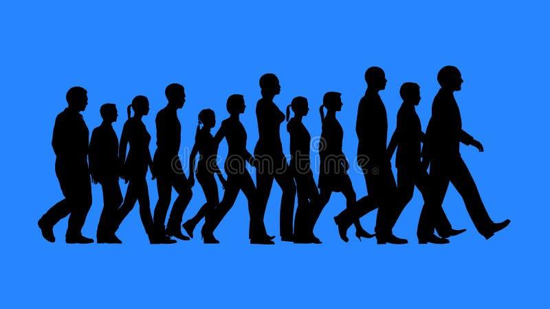 Grupp människor som går konturer royaltyfri bild