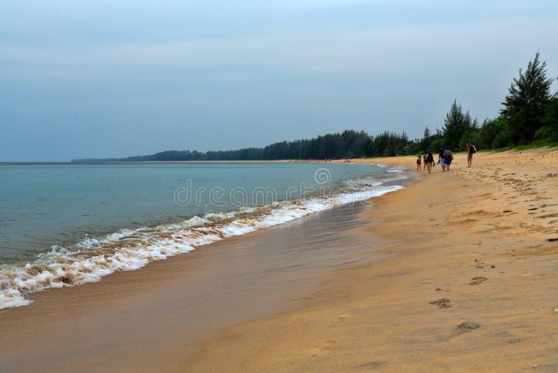 Grupp människor som går på en tropisk strand royaltyfri foto
