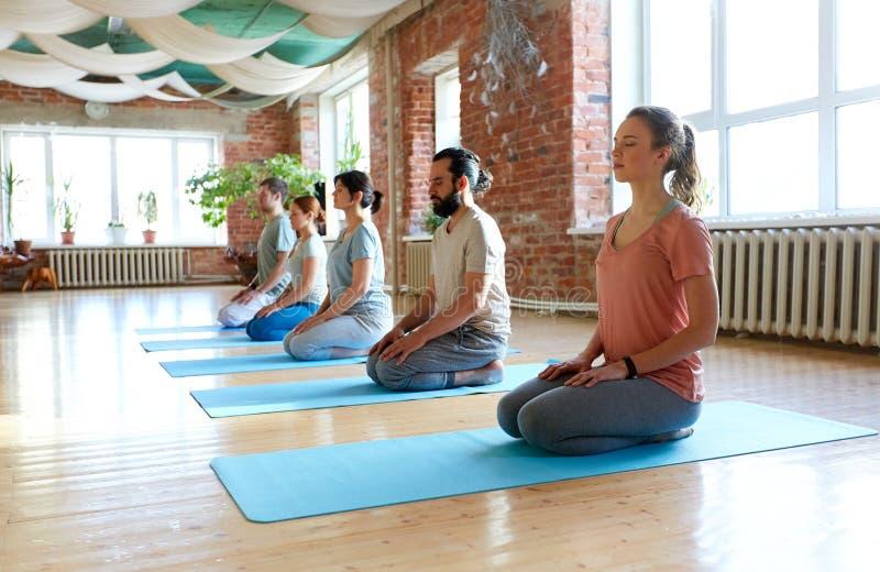 Grupp människor som mediterar på yogastudion fotografering för bildbyråer