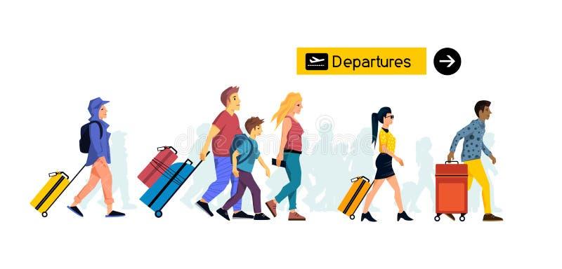 Grupp människor som reser samman med bagage på flygplatsen stock illustrationer