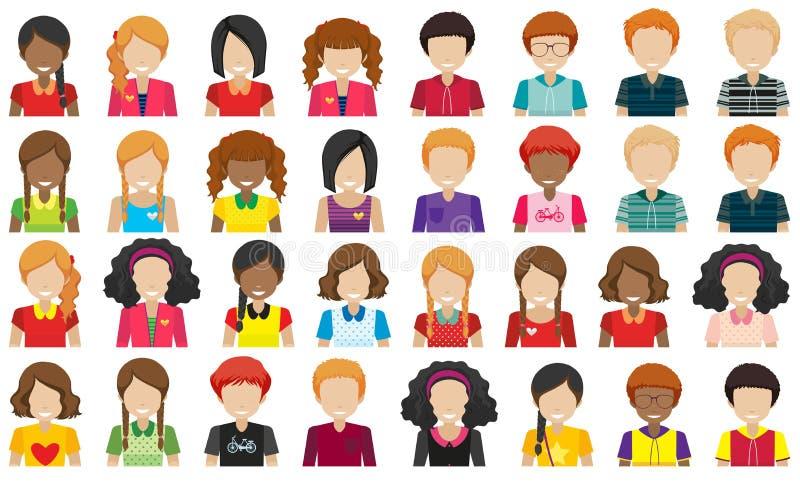 Grupp människor utan framsidor vektor illustrationer