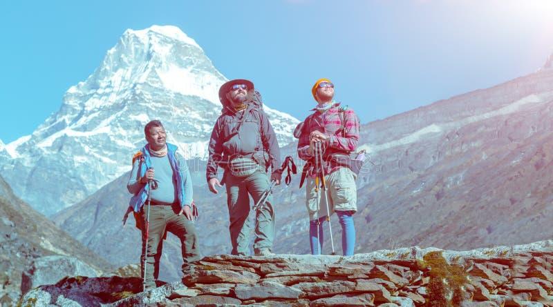 Grupp människorresande i berg under den Himalaya vandringen royaltyfria bilder