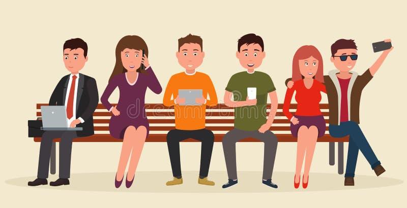 Grupp människorsammanträde på bänk med mobila enheter i deras händer royaltyfri illustrationer