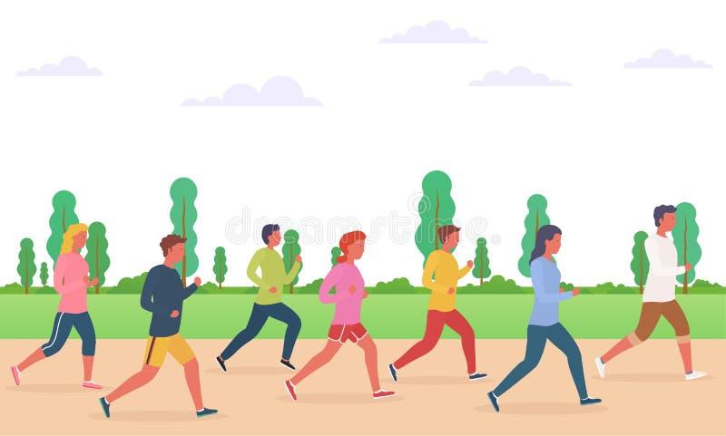 Grupp människorspring Begrepp av körande män och kvinnor, maraton stock illustrationer