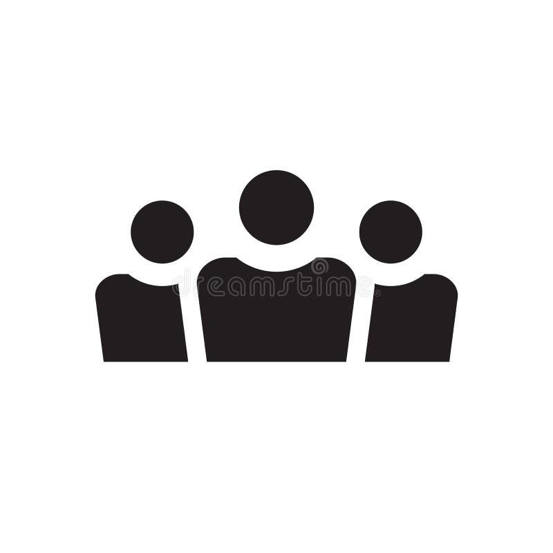 Grupp m?nniskor - svart symbol p? den vita bakgrundsvektorillustrationen f?r websiten, mobil applikation, presentation som ?r inf stock illustrationer