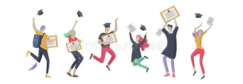 Grupp som ler kandidatfolk i avläggande av examenkappor som rymmer diplom och lycklig banhoppning Vektorillustrationbegrepp stock illustrationer