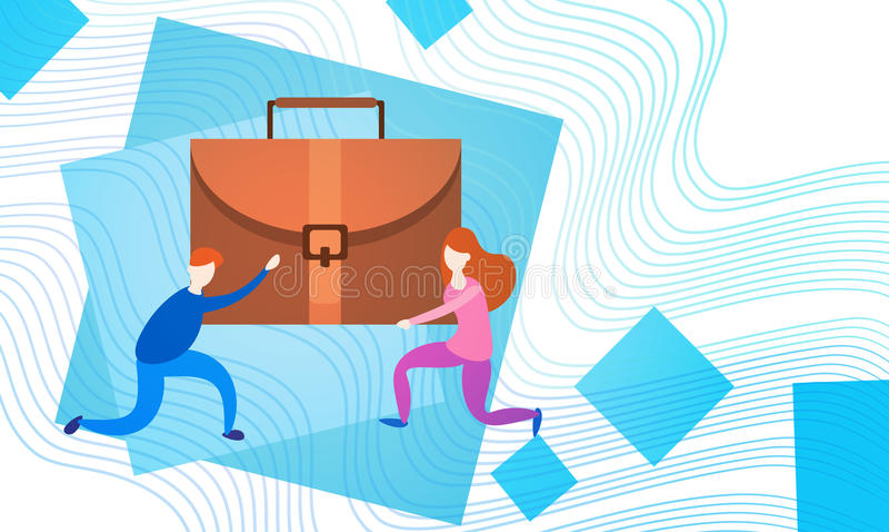 Grupp Team Hold Suitcase Professional Portfolio för affärsfolk vektor illustrationer