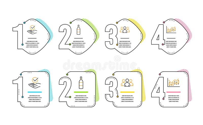 Grupp-, vinflaska och godk?nd symbolsupps?ttning Finansiellt diagramtecken vektor stock illustrationer