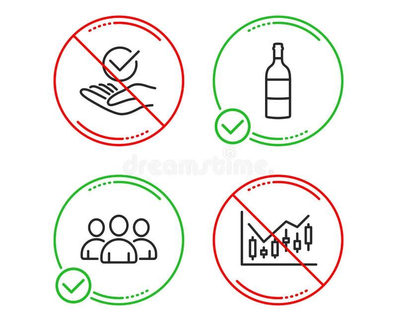 Grupp-, vinflaska och godk?nd symbolsupps?ttning Finansiellt diagramtecken vektor vektor illustrationer
