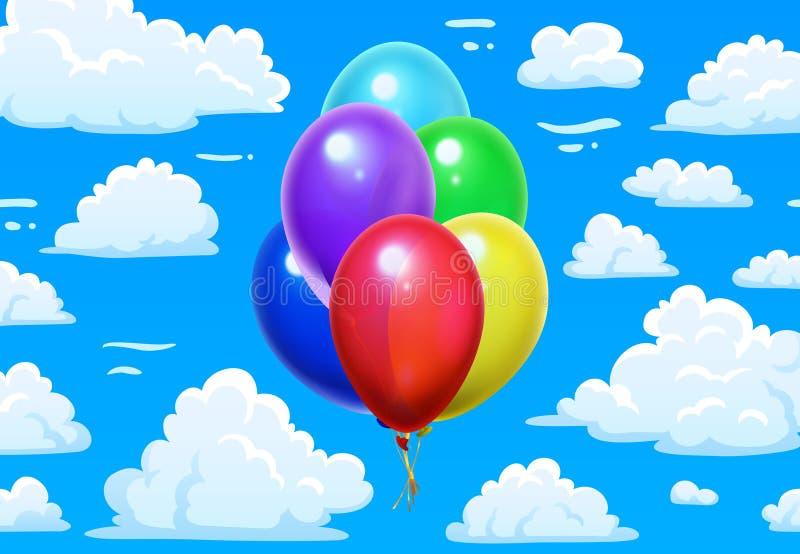 Gruppballonger i moln Blå molnig himmel för tecknad film och färgrik glansig vektorillustration för ballonger 3d royaltyfri illustrationer