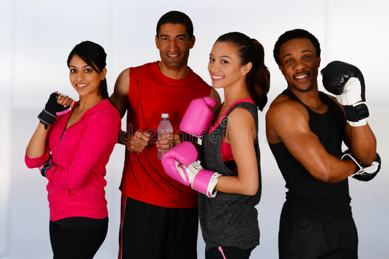 Gruppboxning royaltyfria bilder