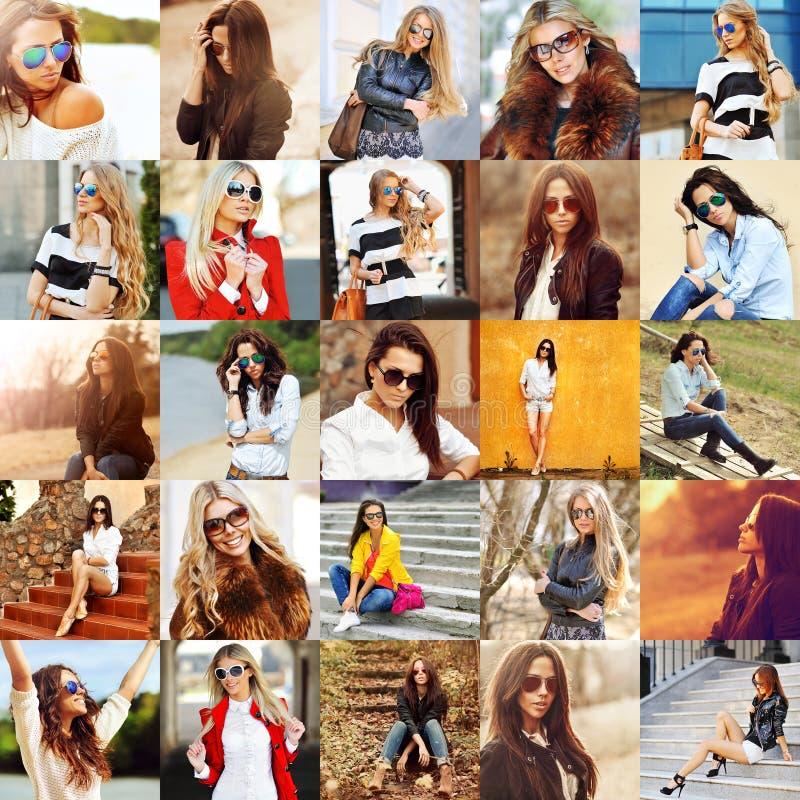 Gruppcollage av modekvinnor i solglasögon arkivbild