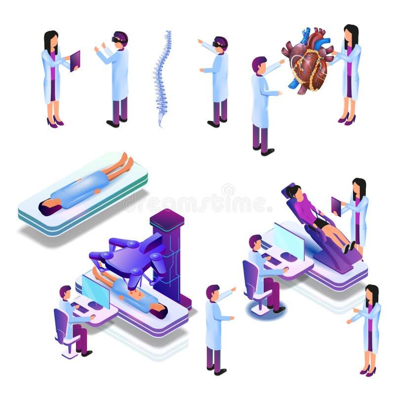 Gruppdoktor i faktisk medicinsk forskning för process vektor illustrationer