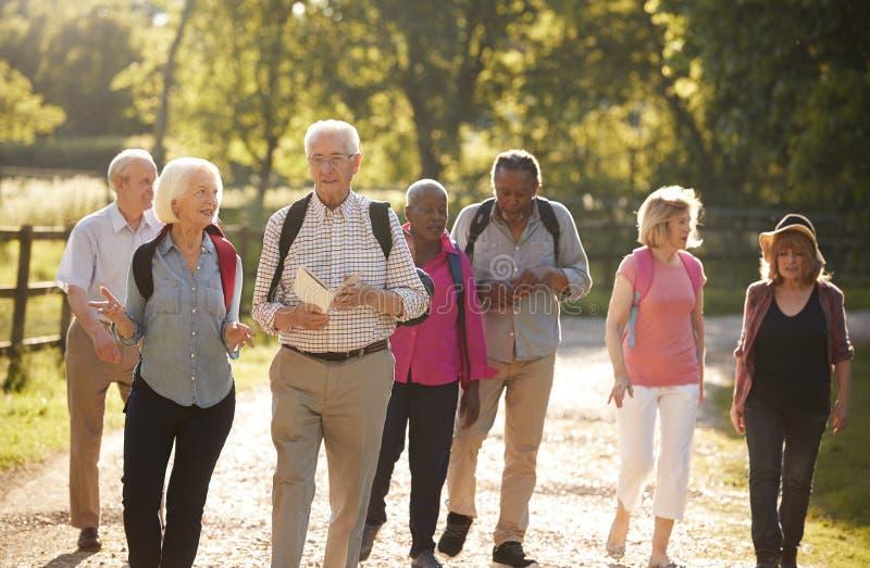 Gruppe ältere Freunde, die in der Landschaft wandern lizenzfreie stockfotos