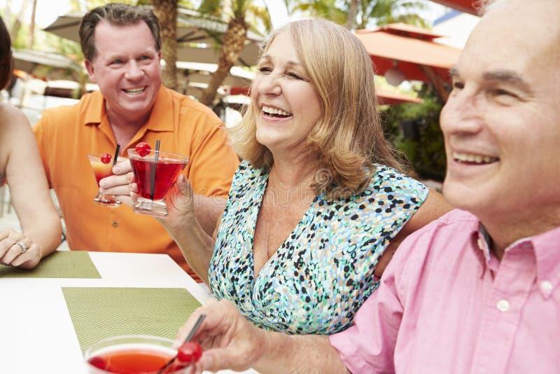 Gruppe ältere Freunde, die zusammen Cocktails in der Bar genießen lizenzfreie stockfotos