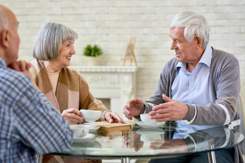 Gruppe ältere Leute, die durch Tee plaudern stockfotografie