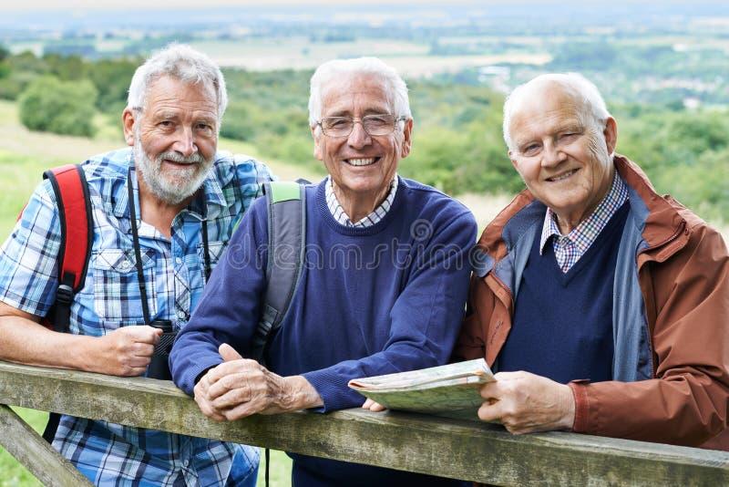 Gruppe ältere männliche Freunde, die in der Landschaft wandern stockfotos